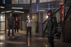 "Arrow -- ""The Recruits"" -- Image AR502a_0051b.jpg -- Pictured (L-R): Echo Kellum as Curtis Holt, Rick Gonzales as Rene Ramirez/Wild Dog, Madison McLaughlin as Evelyn Sharp, Stephen Amell as Green Arrow and Emily Bett Rickards as Felicity Smoak -- Photo: Bettina Strauss/The CW -- © 2016 The CW Network, LLC. All Rights Reserved."